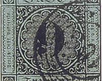 Baden 9 Kreuzer schwarz auf blaugrün