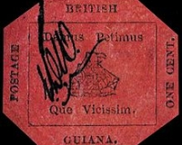 die achteckige British Guiana 1 Cent magenta