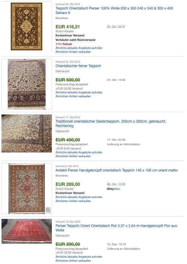 Erfolgreich verkaufte Orientalische Teppiche