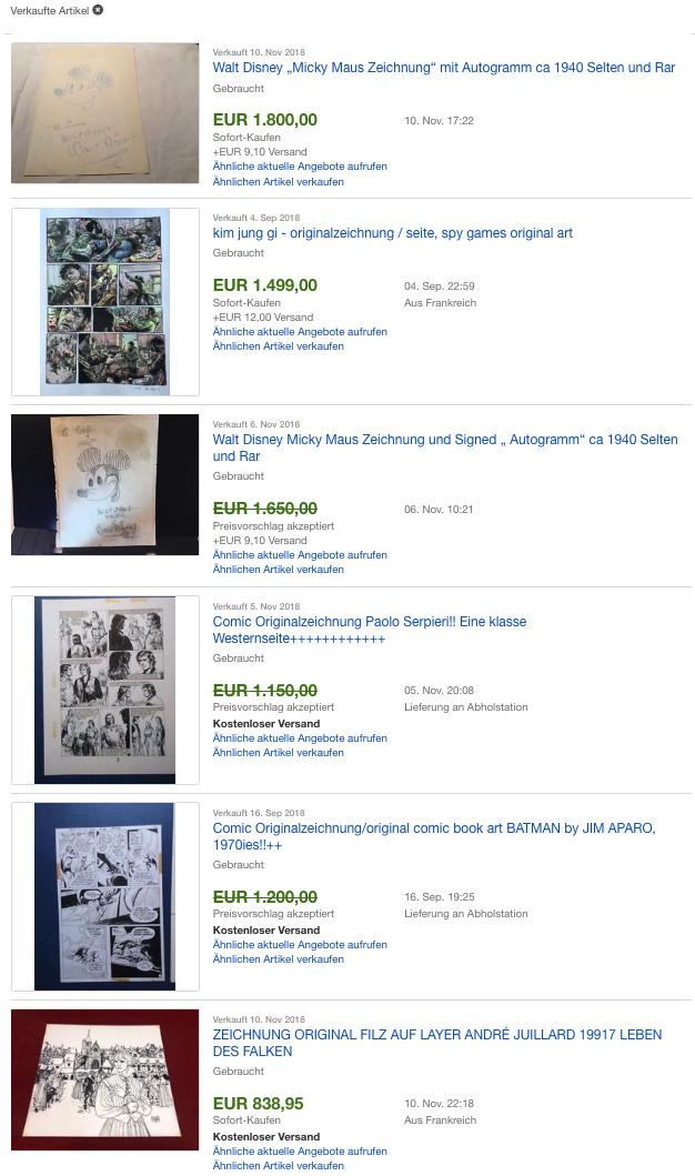 Erfolgreiche Verkäufe vonComic Zeichnungen
