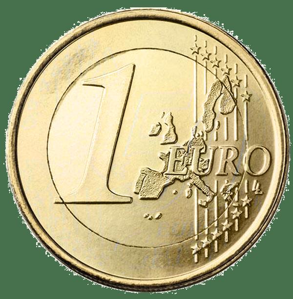 Ein-Euro-Stück auf einem 50-Cent-Rohling