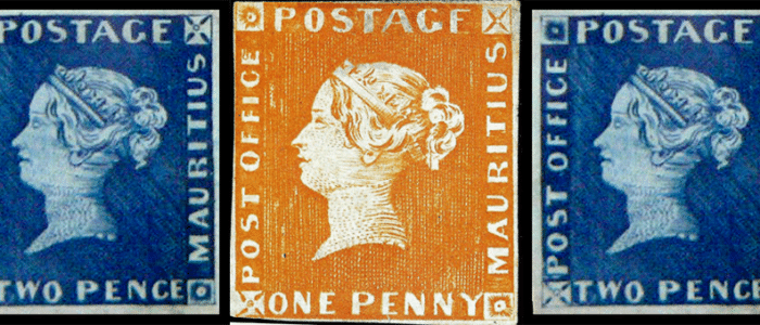 Rote und Blaue Mauritius Briefmarke