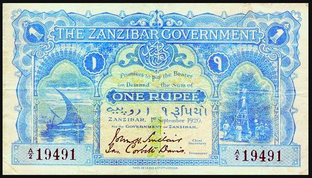 Sansibar 20 Rupien Banknote von 1908