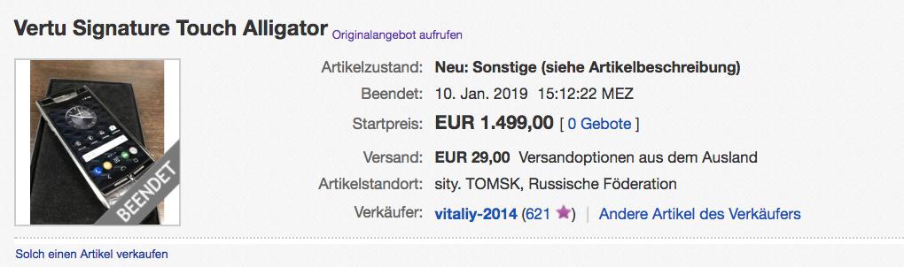 Vertu Signature Handy verkauft