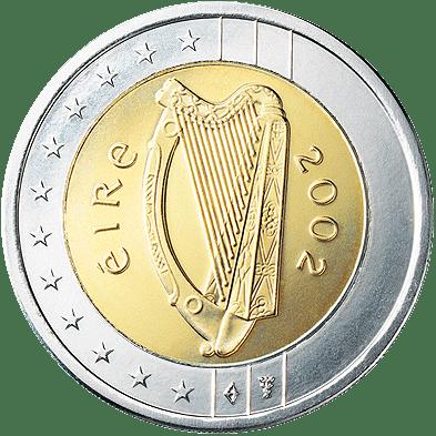 Zwei-Euro-Münzen aus Irland mit der Randinschrift der Niederlande