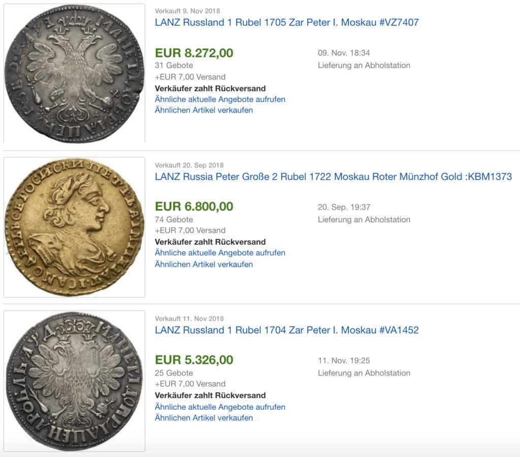 verkaufte russische Münzen